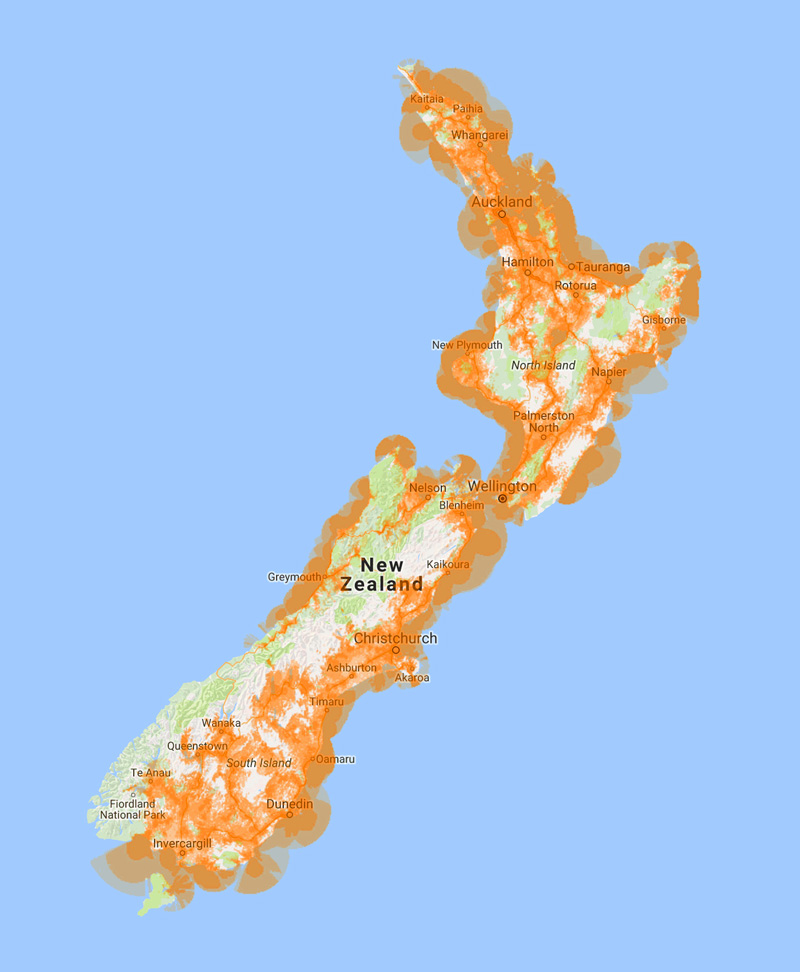 LTE NZ Nationwide Coverage Map